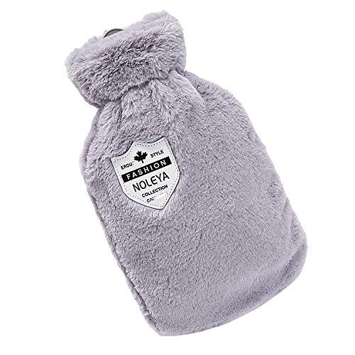 Wärmflasche Flauschig,Tragbarer Klassiker Gummi Wasser Injektion Heißes Wasser Flasche mit Warm Flauschige Plüschbezug für Winter Handwärmer Schmerzlinderung Komfort für Bauch, Rücken und Nacken