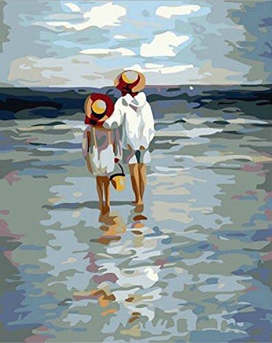 [Cader en Bois] Bricolage numérique toile peinture à l'huile de décoration par les kits- Voir la mer 16*20 inch.