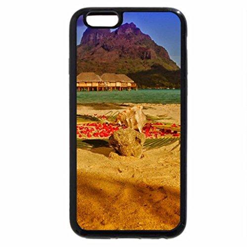 iPhone 3S/iPhone 6Coque (Noir) soleil doré sur le sable de Bora Bora