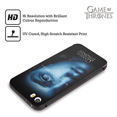 Officiel HBO Game Of Thrones Jon Snow Winter Is Here Noir Étui Coque Aluminium Bumper Slider pour Apple iPhone 5 / 5s / SE Arya Stark