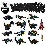 EKKONG Dessin à Gratter Arc-en-Ciel Kits pour Enfants, 48PCS DIY Cartes à Gratter de Dinosaure avec 24 Stylets en Bois pour Dessin Gabarit et 48 Rubans Multicolor, Fourniture de Fête Dinosaure