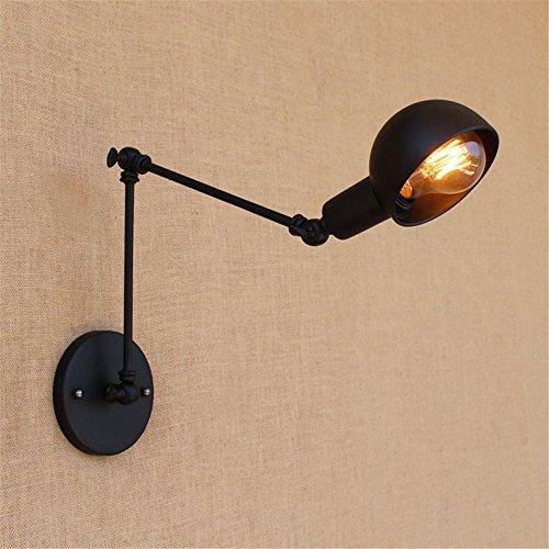 Swing Arm Wand Lampe (E27-Stil lange Arm Wand Lampe Treppe Korridor Balkon Creative Restaurant Bar Schlafzimmer Wohnzimmer Iron Mauer Licht innen Dekor Swing Arm Vintage Wandlampen,Black)