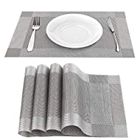 Mamilafe Silver-Gray PVC Table Mats Placemats Set of 4 for Dining Washable Heat Resistant No Slip