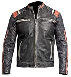 Grab Blouson Cafe Racer Retro 3 Vintage Moto Noir Effet Vieilli Veste en Cuir...