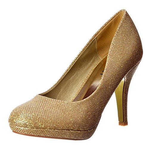 Malla Onlineshoe Femenina Brillo Chispeante Brillo - Zapato De Tacón Bajo Plataforma Corte - Malla De Oro, Plata UK5 - Eu38 - Us7 - Au6 Malla De Oro