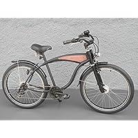 '26Beach Cruiser per bicicletta Shimano 7marce mozzo dinamo Schwalbe Nero legno decorazioni