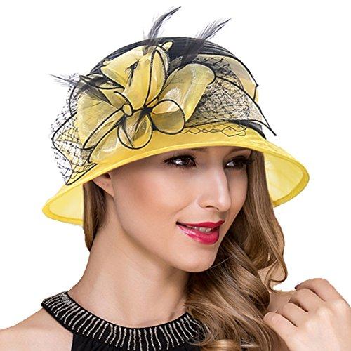Kostüm Hut Gelbe - Ruphedy Königliche Ascot Derby Cloche Hüte der Frauen Britische Kirchen-Kleid-Tee-Party Eimer Hut S051 (S606-Gelb)