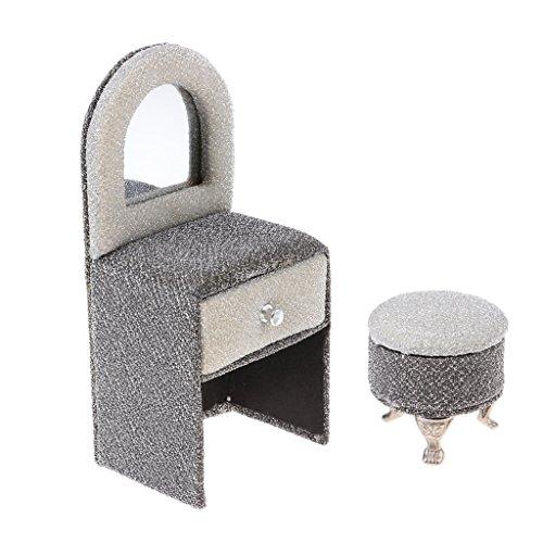 Unbekannt Sharplace 1/6 Schlafzimmermöbel Kommode mit Spiegel & Hocker Schmuckkoffer Für 12 Zoll Action Figur - Europäischen Stil - Silber, S