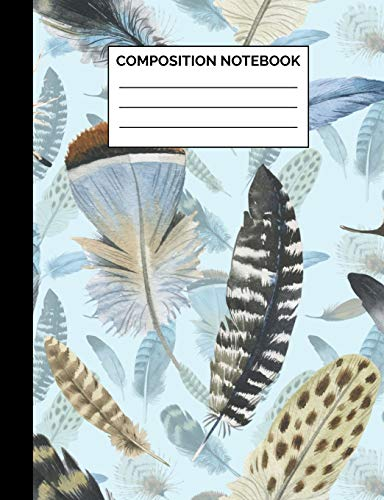Composition Notebook: Cute Boho Feather Pattern Wide Ruled Lined Note Book - Pretty, Modern, Bohemian Chic Journal with Lines for Kids, Teens, ... Lined Pages / 50 Sheets - Size 7.44 x 9.69