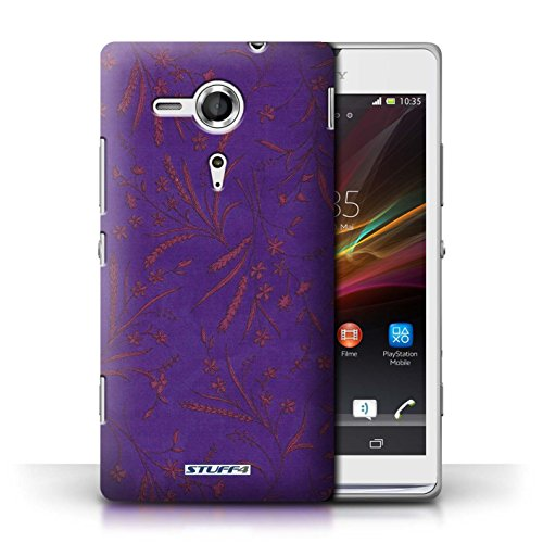 Printed hard back case for Apple iPhone 5/5S / Wheat Floral Pattern collection / Purple/Pink Purple/Pink