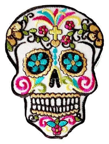 """P.ANTIGURU Bügel-Skull-Totenkopf-Mexican-Mexico-Aufnäher-Patches-Applikation-Stickerei-groß für Jeans-Jacke-n Kleidung Aufbügler zum aufbügeln 26 x 18 cm \"""""""