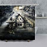 VANCAR Badezimmer-Duschvorhang, Halloween-Dekoration, Nahtlos, gruselig, Totenkopfmuster, wasserdicht, Polyester, 167,6 x 182,9 cm 66