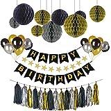 Hotchy Deko Geburtstag, Geburtstag Dekoration Set, Happy Birthday Dekoration 56 Stücksmit 30pcs Große Geperlte Ballons/9 Tissue Papier Pom Poms/1 Happy Birthday Banner for Mädchen und Jungen