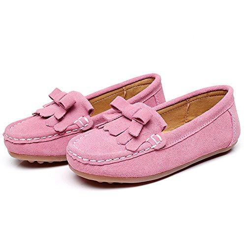 Shenn Filles Garçons Mignonne Confort Glisser Sur Suède Cuir Flâneurs Chaussures S012 Rose