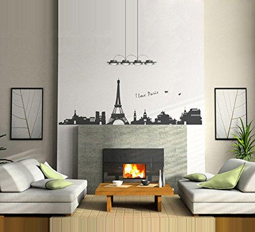 ufengke® Famosa Serie Paesaggio Urbano Torre Eiffel a Parigi Adesivi  Murali, Camera da Letto Soggiorno Adesivi da Parete Removibili/Stickers ...