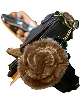 3para 2Rose de llavero, bolso de mano de piel de venta. Encanto, accesorio de moda, pelo de animales, regalo...