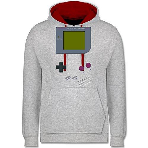 Shirtracer Nerds & Geeks - Gameboy - XL - Grau meliert/Rot - JH003 - Kontrast - Nerd Kostüm College