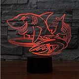 3D Led 7 Couleurs Créatif Requin Surf Modélisateurs Modélisation Bureau Lampe Usb Nuit Lumière Chambre Chevet Décoration Animale Enfants Cadeau