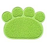 Vetrineinrete® Tappetino per Animali a Forma di Zampa Base per Ciotole scodelle di Cani e Gatti Tappeto Impermeabile con Base Antiscivolo 60x45 cm C70 (Verde)
