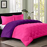 Reversible AC Single Bed Comforter/Blanket/Quilt/Duvet For Winters- Pink & Purple-By Cloth Fusion