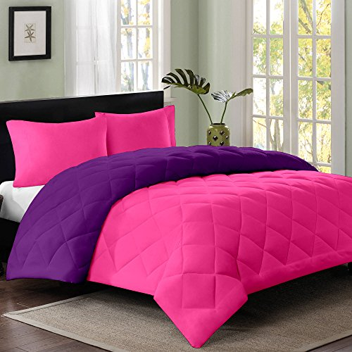 Cloth Fusion Reversible AC Single Bed Comforter/Blanket/Quilt/Duvet For Winters- Pink & Purple