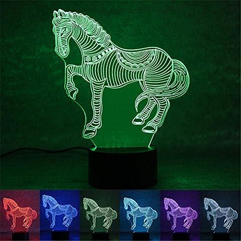 3D Illusion Cheval LED Veilleuses 7 Couleurs Changement Maison Chambre Créatif USB Veilleuses Halloween Noël Lampes de lumière de nuit Avec Câble par SOMESUN