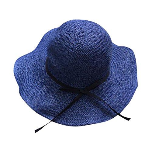 Yuncai Femmes Dames Large Bord Chapeau de Paille Pliable Souple Plage Chapeaux Bleu