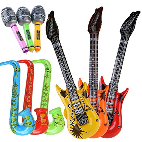 Syolee Toy 9pcs Inflatable Toys Guitar Saxophone Microphone Balloons Fun Musical Instruments for Party Supplies Favors Decoration Props