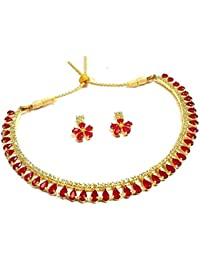 Geode Delight Red-Color Stone Gold Plated American Diamond Necklace Set With Earrings For Women And Girls