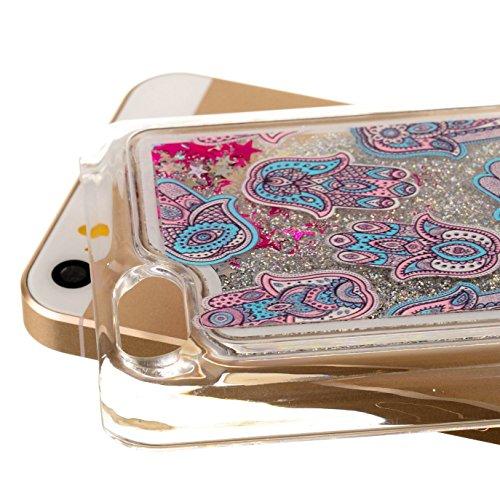 EMAXELERS Schutzhülle iPhone 5C Hülle Transparent Hardcase,iPhone 5C Hülle,iPhone 5C Case Cove,3D Kreativ Muster Transparent Hard Case Cover Hülle Etui für iPhone 5C,Rosa Herz Serie Bling Luxus Glitte Silver 3