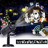 haihai Lampada da proiezione a LED di Natale 20 Figure Faretto impermeabile IP65 Luce di paesaggio rotante 3D Illuminazione per la decorazione di pareti interne ed esterne