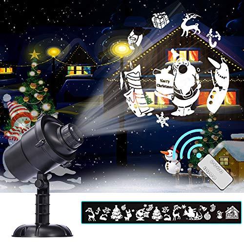 Weihnachts LED-Projektionslampe, 16 Muster, IP65 Wasserdichter Scheinwerfer, 3D Drehende Landschaftslichter, Wanddekorationbeleuchtung im Innenraum oder im Freien