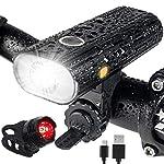 515h1eGCRNL. SS150 AMANKA Luci per Bicicletta,250LM LED Luci Bici Ricaricabili USB Set con modalità di Induzione e Display della Batteria…