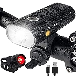 515h1eGCRNL. SS300 Leynatic Luci Bicicletta LED, Luci Bicicletta Ricaricabili USB, Impermeabile, 800 Lumen Super Potente, Illuminazione a 5 modalità, Luci per Biciclette Anteriori e Luce Posteriore
