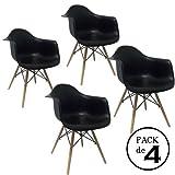 Homment Pack von 4Stühle Eames Arms, Inspiriert von Eames DAW, Schwarz