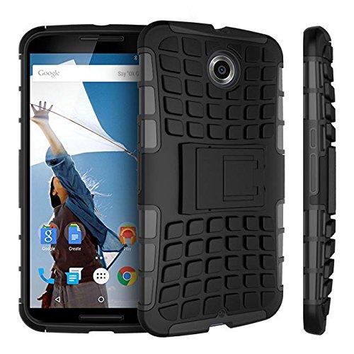 Motorola 6 per Google Nexus, Urvoix (TM)-Heavy Duty Hybrid antiurto a doppio strato, con robusta Grenade-Custodia ruvida con funzione cavalletto - Heavy Duty Ruvida