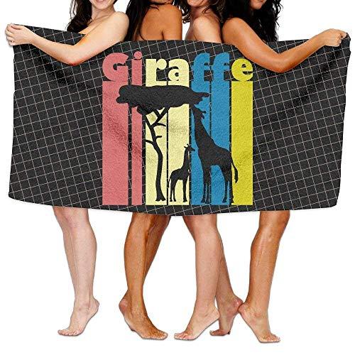 ewtretr Giraffe Vintage 100% Polyester Velvet Bath Towel 31 X 51 inches Lightweight for Beach Gym Yoga