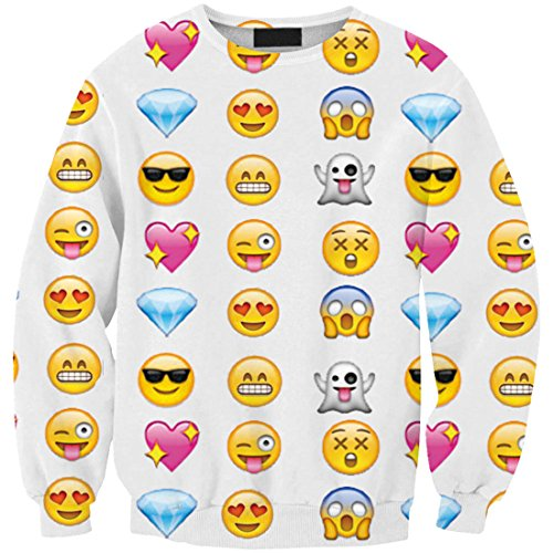 YICHUN Femme Fille Tops de Loisir T-Shirts Fin Sweaters Léger Sweat-shirts Pulls Blouse Pull-Overs Emoji 1#