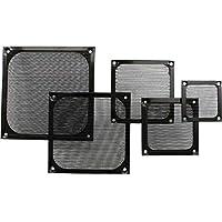 Rejilla de ventilador, filtro de aluminio, 60x 60mm, color negro 2x Lüftergitter