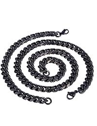 Trendsmax Moda para hombre Niños 11mm joyería tonos Negro cadena del encintado cubana conjunto de acero inoxidable collar de la pulsera de la joyería