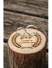 Caja de madera personalizada para alianzas de boda, con letra inicial y fecha