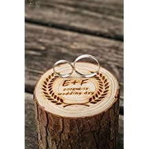 Anillos de Boda Caja de madera personalizada inicial carta y fecha Anillo de madera Beare Caja