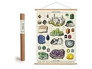 """Vintage Poster Set mit Holzleisten (Rahmen) und Schnur zum Aufhängen, Motiv """"Mineralien"""", Edelsteine"""