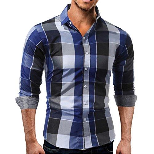 Tops Herren,TWBB Persönlichkeit Freizeit Männer Gitter Oberteile Revers Shirt Lange Ärmel Hemd Bluse Schlank Sweatshirts (XXL, Blau)