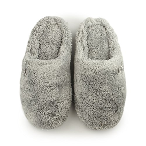 Dearfoams Plush Clog With Memory Foam, Chaussons femme SLEET