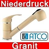 ATCO® Niederdruck Einhandmischer Granit Beige Spültisch Küchenarmatur EHM Brause