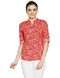 Bombay High Women's 100% Cotton All Over Print Roll Up Sleeves Shirt