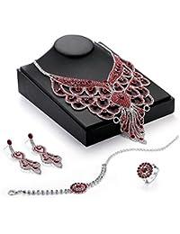 08353dce962a XIANGLIAN Pendientes de Cristal de la Manera Femenina del Collar Cuatro  Pedazos fijaron la joyería cristalina
