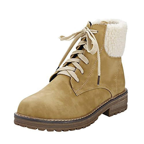Mee Shoes Damen Niedrig runde Schnürsenkel Stiefel Hellgelb