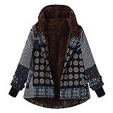 OIKAY Plus Größe Damen Mit Kapuze Langarm Baumwolle Leinen Flauschigen Pelz Reißverschluss Outwear Mäntel